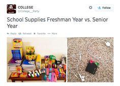 School supplies your freshman year versus your senior year: - All About Gardens High School Supply List, High School Supplies, School Supplies Organization, Freshman Memes, Student Memes, Freshman Year, Freshman Advice, Student Life, High School Memes