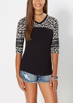 image of Leopard Print Varsity Striped Tee
