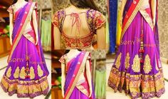 Purple Half Saree Zardosi Blouse