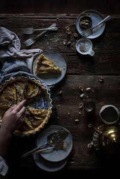 "Local Milk | pear, frangipane & caramel tart from ""top with cinnamon"""