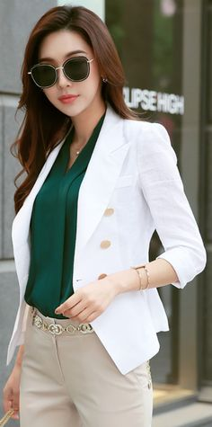 StyleOnme_Double-Breasted Linen Tailored Jacket #white #linen #jacket #springtrend #koreanfashion #kstyle #kfashion #seoul #dailylook