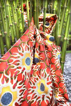 """Tibetan Sun"" by Tony Duquette for Jim Thompson Thai Silk Crochet Home, Crochet Trim, Textures Patterns, Fabric Patterns, Jim Thompson Fabric, King Design, How To Make Skirt, Ethnic Print, Fun At Work"