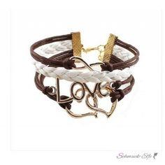 Armband Doppelherz & LOVE Rosé Gold braun...