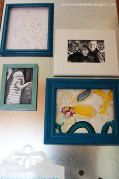 Add magnets to lightweight picture frames for hanging photos and kids' artwork on the fridge