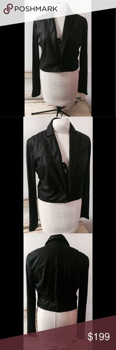 """VEDA LAMBSKIN LEATHER CROPPED JACKET SZ L BLACK VEDA BLACK LAMBSKIN LEATHER CROPPED JACKET. PRE OWNED, gently worn a few times and in excellent condition. Just professionally cleaned. No rips, stains or odors. Smoke free home and environment. LEATHER SMELLS AMAZING LINED in cotton&linen. Inside panel/underarm sleeves ribbed Knit   Measurements:armpit  to armpit flat side to side: 17 1/2 -18 1/2""""Shoulder to shoulder at widest: 17"""" Sleeve length from armpit to bottom of sleeve:22"""" Length top…"""
