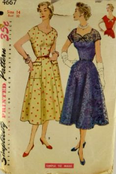 Vintage 50s Simplicity 4667 Pattern One by VintageNeedleFinds,