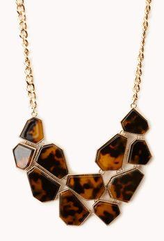 Modernist Bib Necklace | FOREVER21 Tortoise accessories #Necklace #Geo