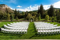 Ceremony ideas - mountain view - white chairs The Westin Riverfront Resort And Spa Wedding Studio JK Photography