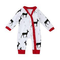 95d8936ca85 0-24M Spring Autumn Christmas Newborn Baby Boy Girl Deer Romper Clothes Xmas  Long Sleeve. Toddler OutfitsPajama ...