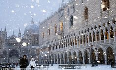 Winter in Venice can mean several inches of SNOW both on land and on water. Here we are in the Piazza San Marco...