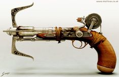 NOT a steampunk crossbow but a steampunk grappling hook and reel.