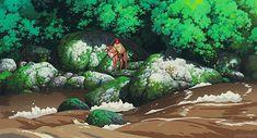 Wanting to cross the river Studio Ghibli Art, Studio Ghibli Movies, Hayao Miyazaki, Isao Takahata, Beautiful Film, Nature Drawing, Animation Reference, Spirited Away, Animation Background