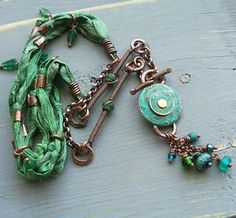 Necklace   Keirsten Giles.  Recycled sari silk, copper, old coins and glass beads.