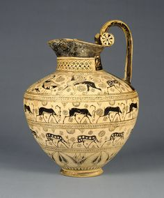 Oinochoe; Unknown; Ionia (present-day western Turkey); about 625 B.C.; Terracotta; 35.7 x 26.5 cm (14 1/16 x 10 7/16 in.); 81.AE.83; J. Paul Getty Museum, Los Angeles, California