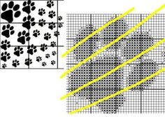 Free: Different Size Dog Paw Prints Cross Stitch Pattern EMAIL ...