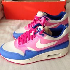 NEW Nike air max 1 hyperfuse Nike air max 1 hyperfuse woman's size 7 pink and blue Limited edition retails for $99.00 brand new never worn. factory laced! Nike Shoes