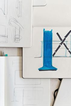 Serif TV | Design by Bouroullec | Samsung | Vitra | The Design process | sketching | Photo via Samsung