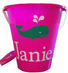 Preppy Whale Sand Bucket, party favors for Juliets second birthday!?