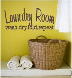 Laundry Room vinyl lettering wall art words for the wall vinyl decal. $19.50, via Etsy.