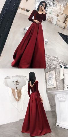 Elegant V-Neck A-Line Prom Dresses,Long Prom Dresses,Green Prom Dresses, Evening Dress Prom Gowns, Formal Women Dress - Evening Dresses Prom Dresses With Sleeves, A Line Prom Dresses, Women's Dresses, Evening Dresses, Fashion Dresses, Full Sleeve Dresses, Long Sleeve Evening Gowns, 50 Fashion, Sleeve Dress Formal