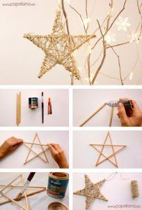 So easy you can tinker Christmas decorations - craft ideas for Christmas - DIY - Weihnachten - Crafts Diy Christmas Star, Christmas Makes, Diy Christmas Ornaments, Christmas Decorations To Make, Rustic Christmas, Christmas Projects, Decor Crafts, Holiday Crafts, Christmas Holidays