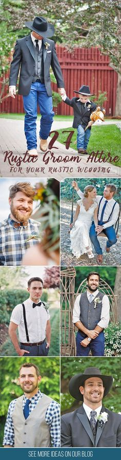 27 Rustic Groom Attire For Country Weddings ❤ You have already chosen your wedding dress, make-up, maybe even hairstyle, so it's time to think about wedding shoes! See our gallery for more inspiration! See more http://www.weddingforward.com/rustic-groom-attire/‎# groom #groomsman