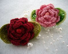 Crochet little roses brooches http://www.etsy.com/shop/CraftsbySigita?ref=si_shop