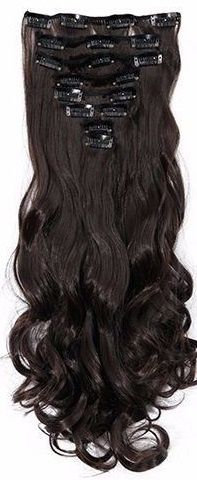 Synthetische clip in extensions set / Bruin  #2A / 43 cm