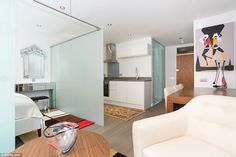 This pied-a-terre, in Victoria, central London, has gone on sale for £449,000 - more than double the average price of a house in England