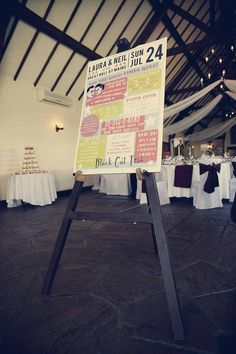 """Music!! Again, love it.  """"Laura walked down the aisle to Brian Fallon's (The Gaslight Anthem) version of the Johnny Cash classic 'I Walk The Line'. Guests found out the seating arrangements from a poster Neil created in the style of a 1950′s Rock n Roll bill and our tables were all named after classic hits such as 'At Last', 'Be Bop A Lula' etc."""""""""""