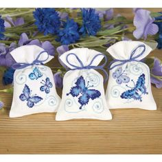 Blue Butterflies Sachet Set - Cross Stitch, Needlepoint, Embroidery Kits – Tools and Supplies Butterfly Cross Stitch, Butterfly Embroidery, Cross Stitch Bird, Cross Stitch Animals, Cross Stitch Flowers, Embroidery Kits, Cross Stitch Designs, Cross Stitching, Cross Stitch Embroidery