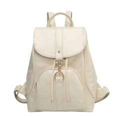 Classic Flap Cover Drawstring Solid Color PU Backpack Daypack Knapsack (Beige). Starting at $16