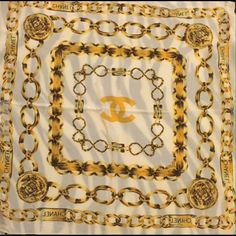 """Vintage gold Chanel scarf Vintage Gold Chanel scar from the 1980s gently used  No damage no stains on scarf very nice vintage item Dimensions  Length 34"""" Length 34"""" CHANEL Accessories Scarves & Wraps"""