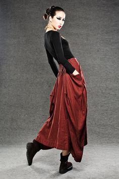 Maxi skirt red linen skirt by YL1dress on Etsy, $69.99