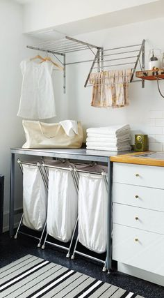 A small laundry room can be a challenge to keep laundry room cabinets functional, yet since this laundry room organization space is constantly in use, we have some inspiring design laundry room ideas. Ikea Laundry Room, Laundry Room Remodel, Laundry Room Cabinets, Farmhouse Laundry Room, Laundry Room Organization, Laundry Room Design, Laundry In Bathroom, Organization Ideas, Laundry Decor