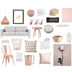 Rose & rose gold by rheeee on Polyvore featuring interior, interiors, interior design, home, home decor, interior decorating, Zuo, CB2, ferm LIVING and H&M