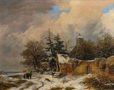 Artwork by Remigius van Haanen, Winter Landscape, Made of Oil on wood
