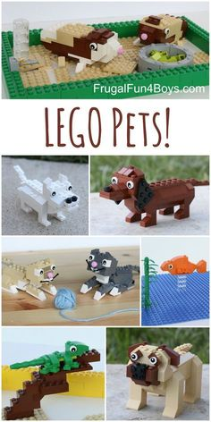 Cats Toys Ideas - LEGO Building Instructions for dogs, cats, guinea pigs, lizard, and goldfish! Love the dachshund and the cats. - Ideal toys for small cats Kids Crafts, Projects For Kids, Reading Projects, Dog Crafts, Lego Activities, Craft Activities For Kids, Lego Games, Reading Activities, Lego Design