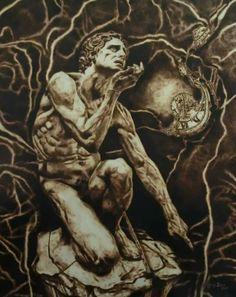 """""""Anima Mundi"""" 2016 pirografia su pioppo 100x80"""
