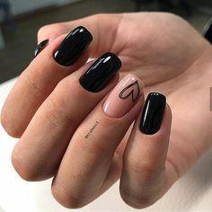 Black Nails Short, Black Nails With Glitter, Matte Black Nails, Black Acrylic Nails, Best Acrylic Nails, Pink Nails, Nail Black, White Nail, Glitter Nails