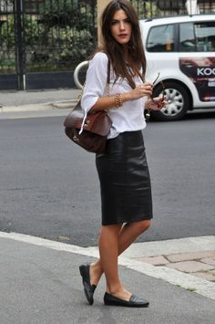 Leather pencil skirt- I love everything about this look. It feels the most like me.
