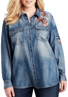 d501b6d6e5f2c Fashion Bug Plus Size Floral Embroidered Button Down Top 1X Denim Pink www. fashionbug