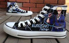 Anime Bleach Ichigo Shoes Bleach anime hand painted shoes sneake,High-top Painted Canvas Shoes