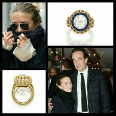 Mary Kate Olsen is rumored to be engaged to 44 year-old, French banker Olivier Sarkozy with this vintage piece! The ring consists of 16 beautiful sapphires and weighs approximately 4 carats. The estimated cost of this ring is $81,250 dollars!