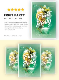 Fruit Party, Party Flyer, Design Inspiration, Templates, Canning, Typo, Fonts, Photoshop, Layout