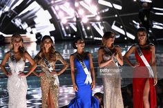 The top five finalists (L-R) Miss USA 2015, Olivia Jordan wearing #BERTA, Miss Australia 2015, Monika Radulovic, Miss Philippines 2015, Pia Alonzo Wurtzbach, Miss Colombia 2015, Ariadna Gutierrez, and Miss France 2015, Flora Coquerel, stand onstage during the 2015 Miss Universe Pageant at The Axis at Planet Hollywood Resort & Casino on December 20, 2015 in Las Vegas, Nevada. Pia Alonzo Wurtzbach (C) went on to be crowned the new Miss Universe.