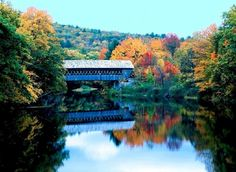 Stowe, Vermont ~ We've actually traveled throughout the New England States and have pics of many covered bridges. Bridge Wallpaper, New England Fall, Autumn Scenery, Covered Bridges, Before Us, Beautiful Landscapes, Places To See, Beautiful Places, Peaceful Places