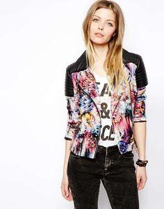 ASOS   Floral Print Biker Jacket #asos #floral #jacket
