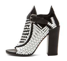 Proenza Schouler Woven Open Toe Leather Heels in Black & White