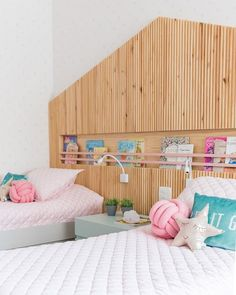 What a cleaver bedhead design for a shared girls bedroom! Bedhead Design, Room Themes, Reading Nook, Girls Bedroom, All About Time, House Plans, Toddler Bed, Shabby Chic, Interior Design